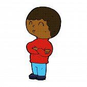 retro comic book style cartoon boy with folded arms
