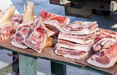 Raw Chopped Meat Ready For Sale In Local Market In Winter