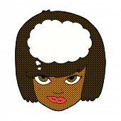retro comic book style cartoon woman thinking