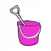 retro comic book style cartoon bucket and spade
