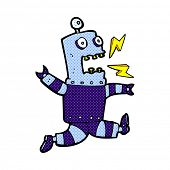 retro comic book style cartoon terrified robot