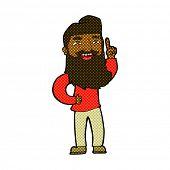 retro comic book style cartoon happy bearded man with idea