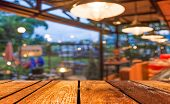 picture of wood design  - Empty wood table and Coffee shop blur background with bokeh image - JPG