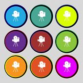 Video Camera Sign Icon.content Button. Set Colourful Buttons. Vector