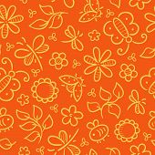 Pattern with flowers and insects