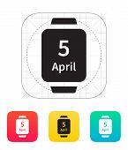 Calendar on smart watch icon.