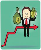 Cartoon businessman carrying the bag of money on the top graph