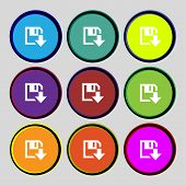 Floppy Icon. Flat Modern Design Set Colour Buttons. Vector