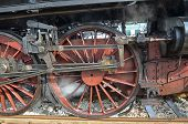 Wheels of classic steam locomotive
