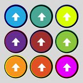 This Side Up Sign Icon. Fragile Package Symbol. Set Colourful Buttons. Vector