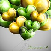 holiday illustration of flying bunch of balloon hearts