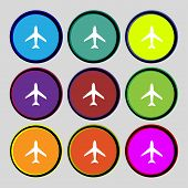 Airplane Sign. Plane Symbol. Travel Icon. Flight Flat Label. Set Colourful Buttons. Vector