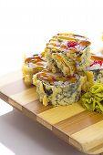 Deep-fried Japanese Roll With Red Caviar Avocado And Unagi Sauce