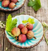 Fresh gooseberries and leaves in blue bowl