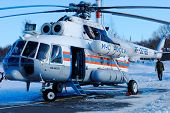 NIZHNY NOVGOROD. RUSSIA. FEBRUARY 17, 2015. Mi-8 helicopter of the Ministry of Emergency Situations