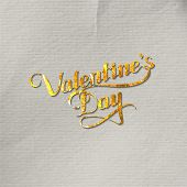 illustration of golden foil St. Valentines Day label