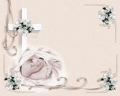 stock photo of christening  - Image and illustration composition for baby baptism or christening invitation template with baby feet - JPG