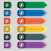 Photo Flash Sign Icon. Lightning Symbol. Set Of Colour Buttons. Vector