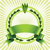 green abstract eco design with ribbon and circles