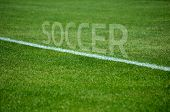 Soccer text on grass with white lane
