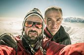 Alpinists Selfie On The Top