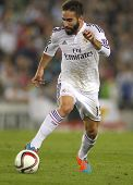 BARCELONA - OCT, 29: Dani Carvajal of Real Madrid during the Spanish League match between Espanyol and Real Madrid at the Estadi Cornella on October 29, 2014 in Barcelona, Spain