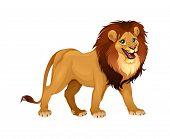 Lion king. Cartoon vector isolated animal.