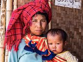 Portrait Of Burmese Woman With Daughter At Inle Lake, Myanmar