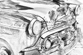 Sketch Of Classic, Vintage Car Grill
