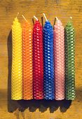 Set of six natural beeswax candles