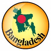 Orange Button With The Image Maps Of Bangladesh