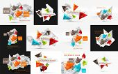 Vector set of fresh business abstract infographics on 3d triangular background