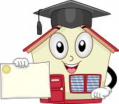 Mascot Illustration of a School Holding a Diploma