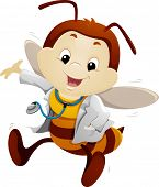 Mascot Illustration of a Bee Dressed in a Doctor's Uniform