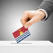 Voting Concept - Male Inserting Flag Into Ballot Box - Kiribati