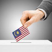 Voting Concept - Male Inserting Flag Into Ballot Box - Malaysia