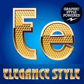 Vector set of rich shining alphabet with golden border. Letter E