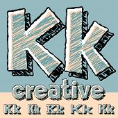 Funny sketch alphabet. Vector illustration of hand drawing font. Letter K