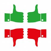 Icons Thumbs  Down And Up, Vector Illustration