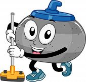 Mascot Illustration of a Curling Stone Holding a Curling Broom