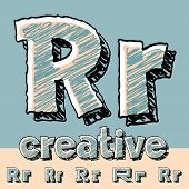 Funny sketch alphabet. Vector illustration of hand drawing font. Letter R