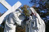 MARIJA BISTRICA, CROATIA - OCTOBER 26: 4th Stations of the Cross, Jesus meets His Mother,  pilgrimage Sanctuary, Assumption of the Virgin Mary in Marija Bistrica, Croatia, on October 26, 2013