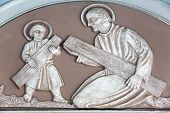 MARIJA BISTRICA, CROATIA - JULY 14: Saint Joseph with child Jesus, Basilica Assumption of the Virgin Mary in Marija Bistrica, Croatia, on July 14, 2014