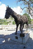 Horse Sculpture Made Of Horseshoes In Saint-paul De Vence, France