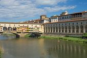 The Uffizi Gallerand Bridge Vecchio  In Florence (italy)