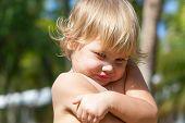 Cute Shy Caucasian Blond Baby Girl Portrait