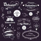 Valentine's Day typography set, vector illustration