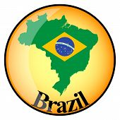 Orange Button With The Image Maps Of Button Brazil