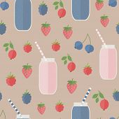 Seamless Background. Smoothie And Berries