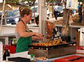 Cooking kebabs, Marbella.